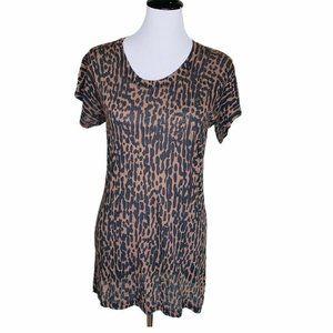 Monrow Womens Mini Dress Brown Leopard Print S